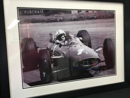 John Surtees CBE signed Ferrari photo