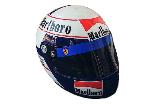 A replica, full size Alain Prost helmet