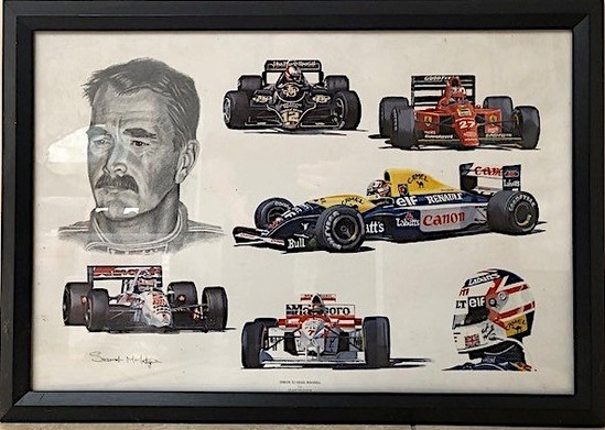 A pair of Nigel Mansell CBE prints