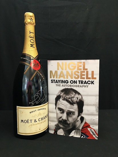 Champagne bottle and book, signed by Nigel Mansell CBE