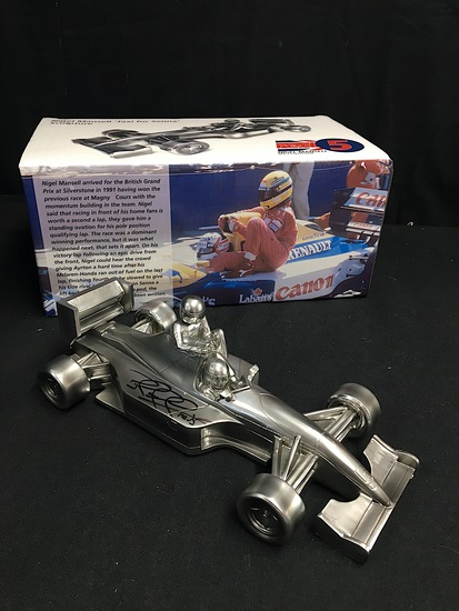 Chrome 'Taxi for Senna' sculpture, signed by Nigel Mansell CBE