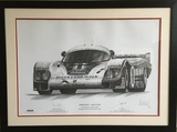 Porsche 956 Le Mans 1982 print, signed by Derek Bell and Jacky Ickx