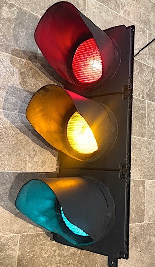 Full-size set of working traffic lights