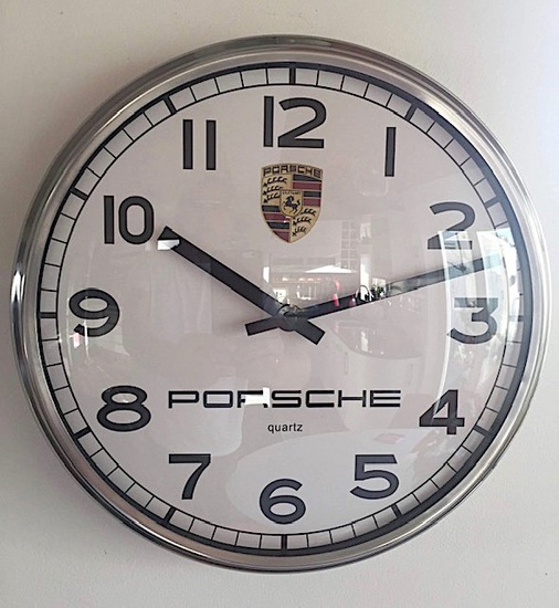 Porsche-themed wall clock