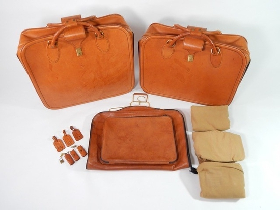 Original Ferrari 355 3-piece complete Schedoni leather luggage set