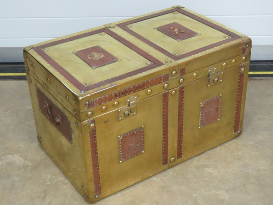 A rare brass and leather military lidded travel trunk