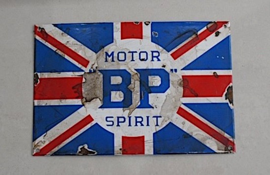 BP Motor Spirit enamel sign