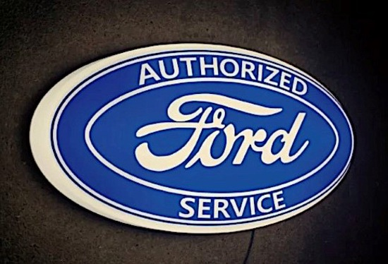 Illuminated Ford 'Authorised Service' sign