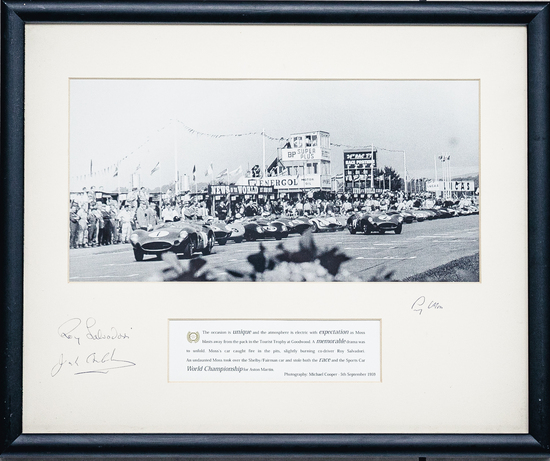 Multi-signed and framed presentation of the TT start at Goodwood in 1959