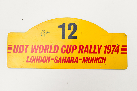 Signed rally plate - 1974 UDT World Cup Rally
