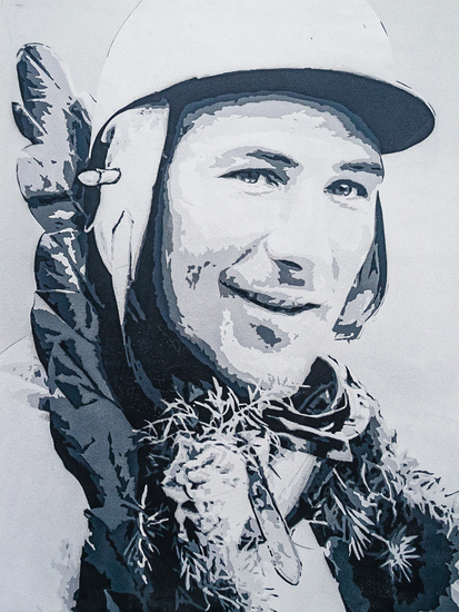 Stencilled painting on canvas of Sir Stirling Moss