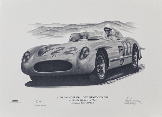 1st Place -  Stirling Moss & Denis Jenkinson 1955 Mille Miglia Signed Print 132/500