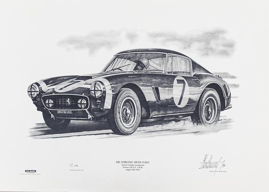 Sir Stirling Moss Ferrari 250 GT SWB Goodwood 1961 TT Signed Print 1/850