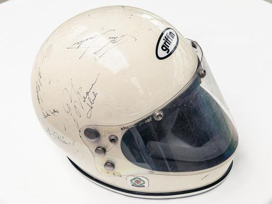 Multi-signed 1970s Griffin crash helmet