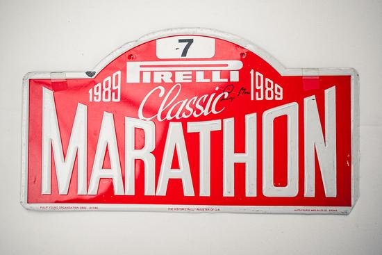 Signed rally plate -Pirelli Classic Marathon 1989
