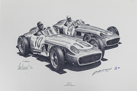"""""""The Train"""" Moss & Fangio at the Belgium Grand Prix in 1955. Signed Print (both drivers) No 2/750"""