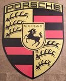A Very Large and Impressive Metal Porsche Dealer-Type Wall or Garage Shield Sign