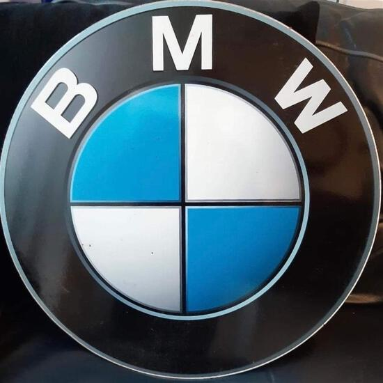 A Circular BMW Themed Metal Wall or Garage Advertising Brand Roundel Sign