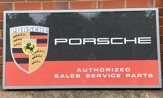 A Super Rare and Original Porsche Authorised Dealership Single-Sided Illuminated Box Sign