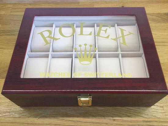 A Fine Rolex Ten-Watch Display Case in Polished Cherrywood