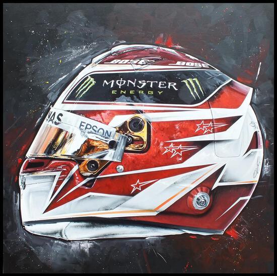 Lewis Hamilton 2019 Race Helmet - Original Acrylic on Canvas Painting by Tony Upson