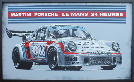 Martini Porsche 935 at Le Mans - Original Acrylic on Board by Tony Upson