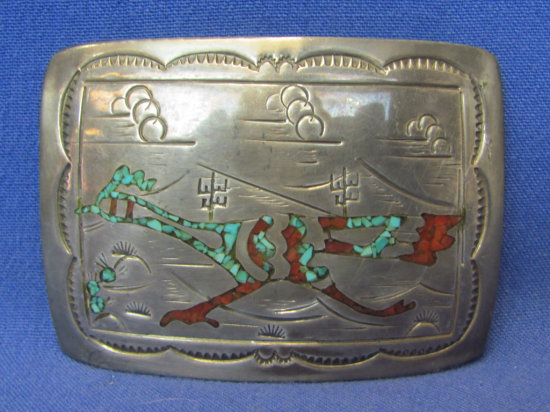 Silver Belt Buckle – Road Runner – Inlaid Turquoise & Coral – Signed on Back – 47.3 grams