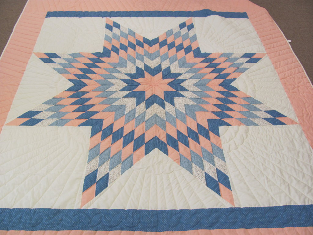 "Amish Made Quilt – Lone Star Pattern – White, Blues & Peach – Measures about 102"" x 84"""