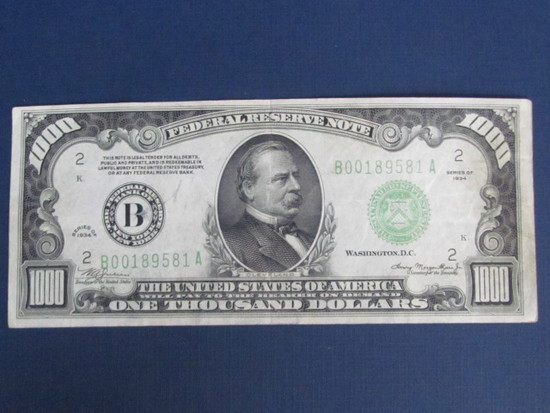 1934 $1000 One Thousand Dollar Bill Currency NOTE Cash