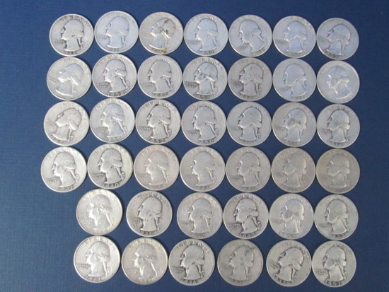 40 Silver Quarters 30's, 40's & 50's (Sorted But Not Searched) - 245.4 Grams