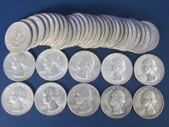 $10 Roll of Silver Quarters 1960 - 1964 Dates - Weights 250 Grams