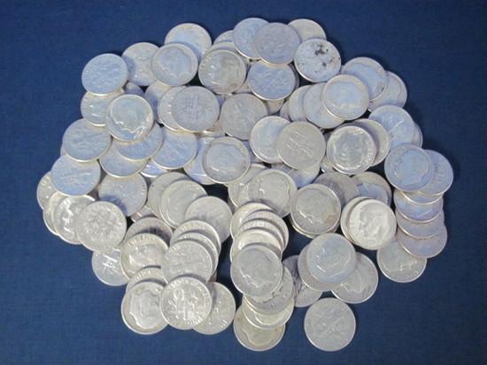 111 Roosevelt Dimes - 1964 or older - 90% Silver - Weights 276.7 Grams