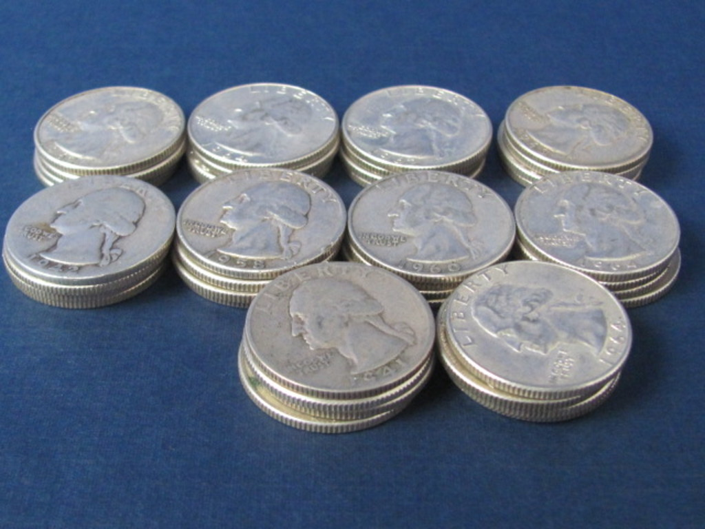 Roll of $10 Silver Quarters - 37 1960's, One 1941, One 1942 and One 1958 - Weights 250 Grams