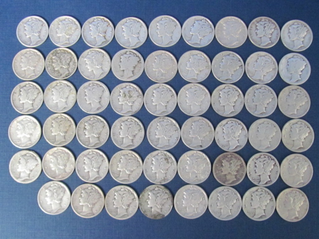 53 Mercury Dimes Various Dates - 129 Grams
