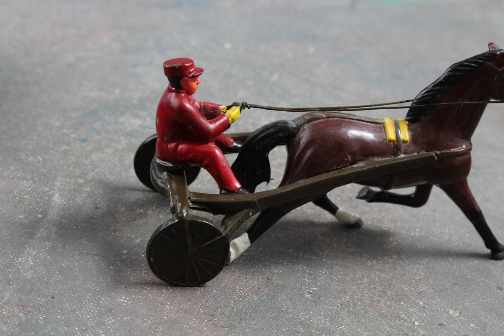 Lot: 1950's Toy Jockey Horse Drawn Sulky Cart Harness Racing