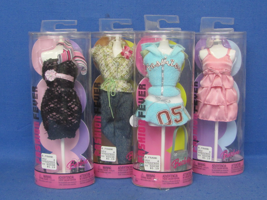 4 Barbie Fashion Fever Outfits New In Tubes With Mannequins 2004 Very Good Condition Art Antiques Collectibles Toys Hobbies Dolls Barbie Contemporary 1973 Now Auctions Online Proxibid