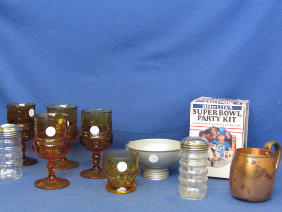 Mixed Lot – Vintage Glassware (Thumbprint), S& P, Strainer