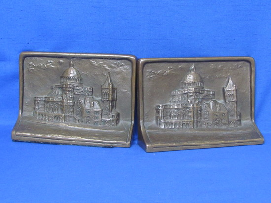 """Pair of Bronze? Bookends – Building or Church Relief – 6 3/4"""" wide – Weigh over 15 pounds"""