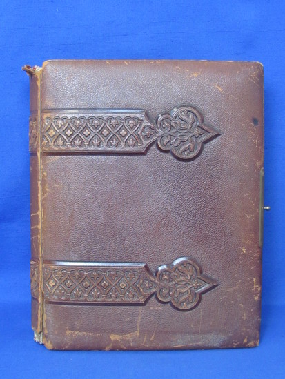 Antique Leather Bound Photograph Album – Full of Pictures - 1st Optical Illusion Skull/2 Little girl