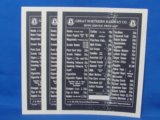 """3 Reproduction Paper Signs """"Great Northern Railway Co. News Service Price List"""" 12"""" x 9 1/2"""""""