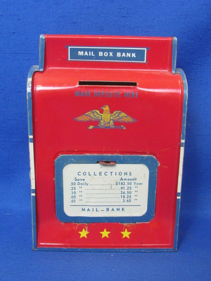 """Tin Mail Box Bank by the Ohio Art Co. - 6"""" tall – Can be wall mounted"""
