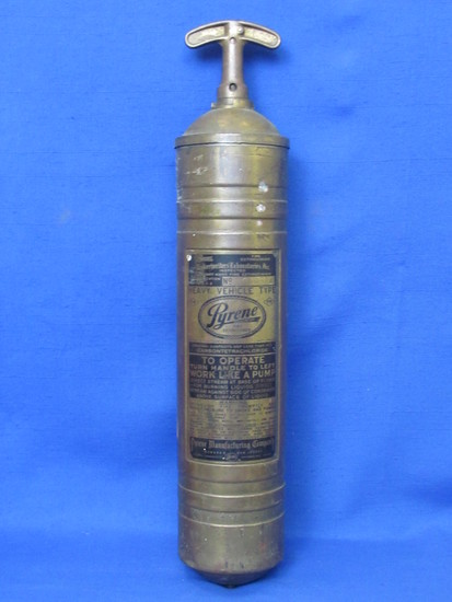 """Brass Pyrene Fire Extinguisher – Heavy Vehicle Type – About 17 1/2"""" long"""