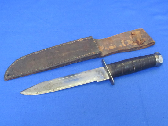 """Fixed Blade Knife with Leather Sheath – Marked """"C, J. H 10 10 18"""" - 11"""" total length"""