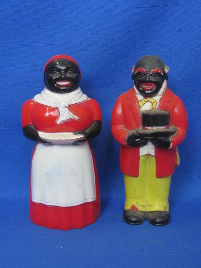 """Plastic Aunt Jemima & Uncle Mose Salt & Pepper Shakers – 5 1/4"""" tall – by F&F Mold & Die"""