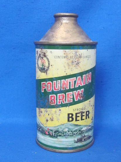 """Steel Cone Top Beer Can """"Fountain Brew"""" - Fountain City, Wisconsin"""