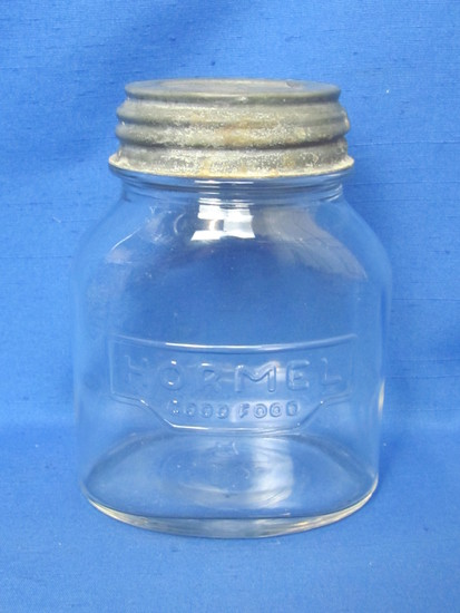 """Hormel Good Food"" Glass Jar by Hazel-Atlas – Ball Zinc Lid – 5"" tall"