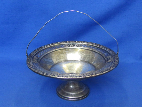 """Sterling Silver Basket – Royal Rose Pattern – 7 1/8"""" in diameter – 219.8 grams – Small weighted base"""