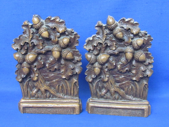 """Syroco Wood Bookends – Acorns & Leaves – 6 1/2"""" tall"""