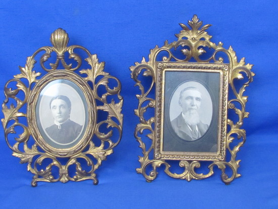 """Pair of Vintage Cast Iron Picture Frames with Black & White Photos – 11 1/2"""" to 12"""" tall"""