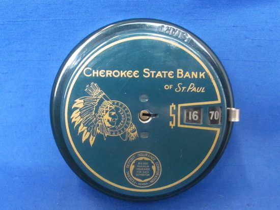 """Vintage Metal Bank """"Cherokee State Bank of St. Paul""""  Add-O-Bank – Patent date 1942"""
